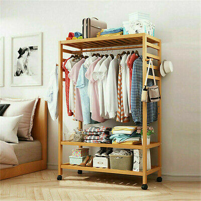 Mobile Clothes Rail Garment Dress Hanging Display Stand Shoe Rack Storage Shelf