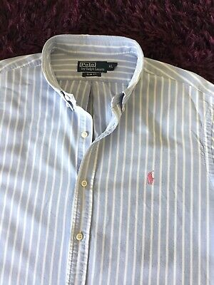 Super Cool 100% Genuine Mens Ralph Lauren Slim Fit Striped 'Oxford' Shirt In XL