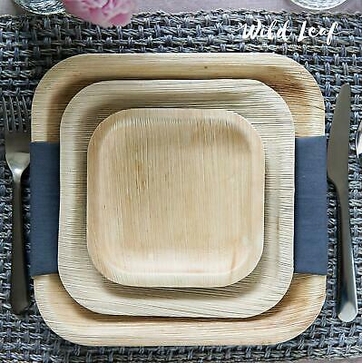 Biodegradable Palm Leaf Plates Square Disposable Heavy Duty Wood Bamboo