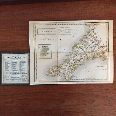 Antique Paper And Linen Sidney Hall Pocket Map Cornwall 1840