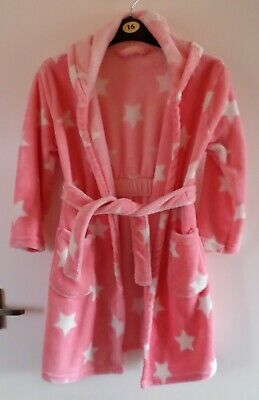 Girls: PINK & WHITE STAR DRESSING GOWN/ROBE (George 7-8 Years)