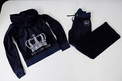 juicy couture tracksuits Navy Blue Velour Age 8 Years Vgc Hoodie & Bottoms
