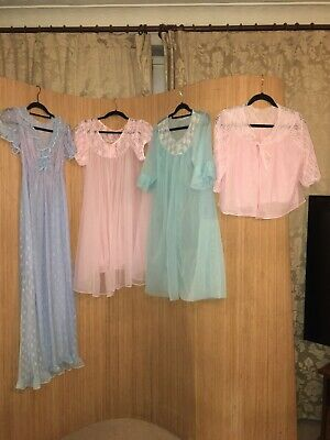 Gorgeous Job Lot Vintage Double Nylon Night Gowns And Dresses In Size M #4