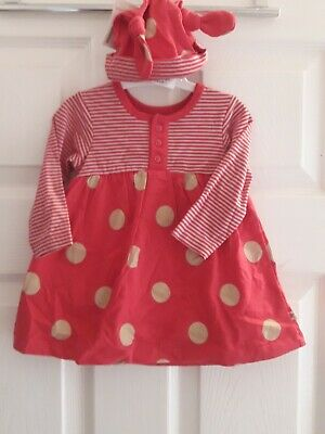 BNWT Mothercare Baby Girls Dress & Matching Hat Age 3-6 Months