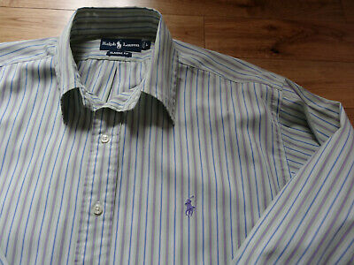 Vintage Cool 100 % Genuine Ralph Lauren Men's Shirt Striped Large/XL VGC!