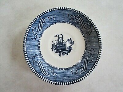 """Vintage Royal China Currier And Ives Saucers 6 """"  Low Water In The Mississippi"""
