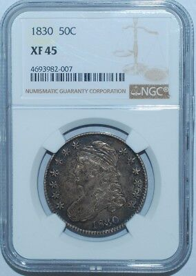 1830 Small 0 NGC XF45 Capped Bust Half Dollar