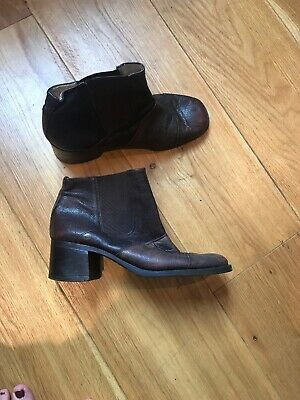 Vintage 90s Square Toe brown heel ankle chelsea boots UK 6 Patchwork