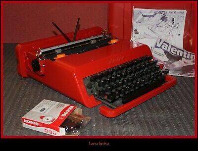 Fabulous vtg RED OLIVETTI VALENTINE Typewriter 60s...WORKING (watch video)A/65