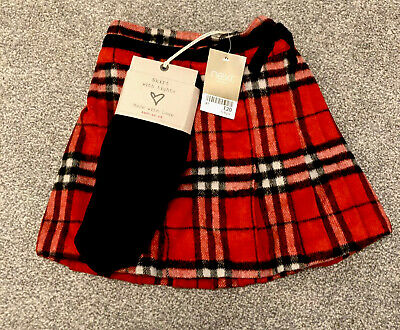 New Girls Children Full Circular Gold Lurex Tartan Check Elasticated Skirt