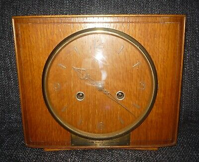 Vintage Smiths Mantle Clock Square Wooden Working Presentation Clock 1950s