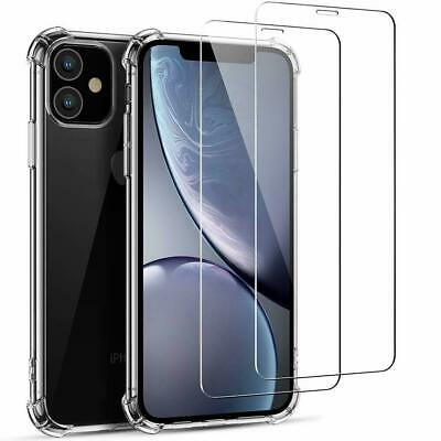 For Apple iPhone 11 11 Pro Max XR XS X Screen Protector Glass Case Twin Pack