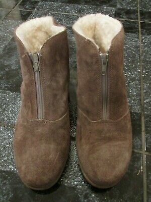 Vintage Richard Draper Sheepkin Brown Suede Leather Ankle Boots Size 7 Worn