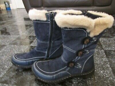 Pavers Earth Blue Suede Leather Short Boots Size 4 Worn