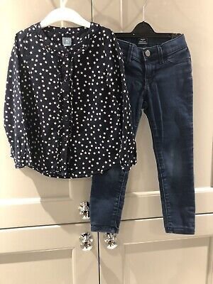 Girls Navy Blouse and Skinny Jeans Age 5 years BabyGap VGC