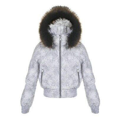 Poivre Blanc Girls Ski Down Jacket Coat Cloud Silver Grey Fur Hood