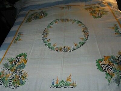 Vintage Linen Art Deco Style Table Cloth With Country Cottage Printed Scene