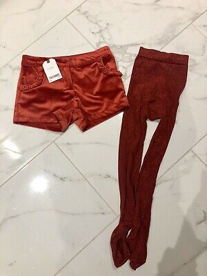 Brand New Girls Next Red Velvet Shorts And Tights Size 6 Years