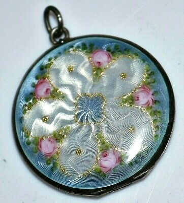 Art Deco Sterling Guilloche Enamel Flower Locket - Large - Pink, Blue White