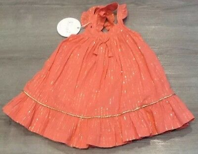Mothercare Baby Girls Party Dress With Gold Thread Age 1-3 Months New With Tags