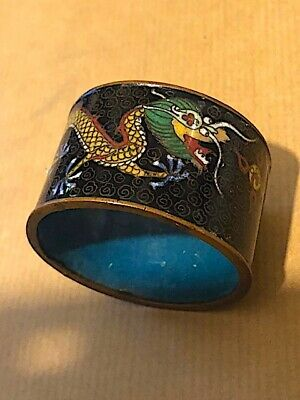 Fabulous antique Chinese cloisonne napkin ring with dragons.