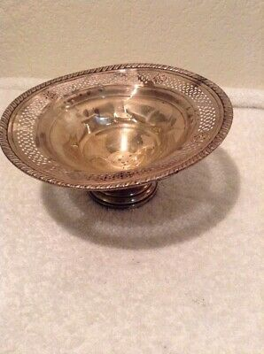 Crown Sterling Silver Weighted Embossed Footed Compote Candy Nut Serving Dish