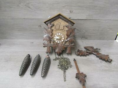 Swiss Made Wooden Cuckoo Clock with 3 Small Weights PARTS REPAIR