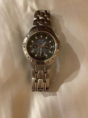 Fossil Relic Wet Zr15409 Chrome Blue Dial Stainless Steel Mens Wrist Watch