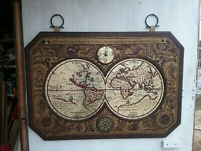 Antique World  Map of the Lastest  Discoveries of 1628 Hand Painted