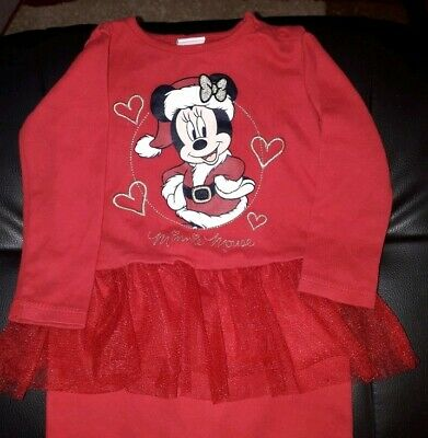 Girls Disney Baby Minnie Mouse All In One Sleep Suit Red Multi Age 9 - 12 Months