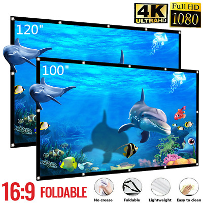 H120 120/'/' Portable Projector Screen HD 3D 16:9 Foldable Home Theater Wall P2D5