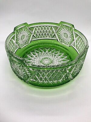 "FAB! 40's Art Deco Era Czech Bohemian Cut to Clear Green Crystal Large Bowl 8""D"