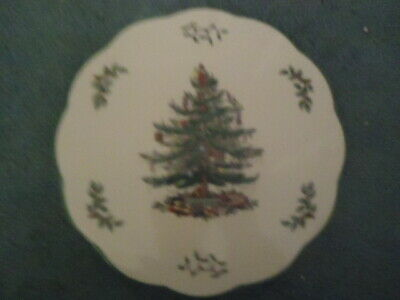 """Spode Christmas Tree 9"""" Round Scalloped Trivet or Appetizer Cheese Plate MINT"""