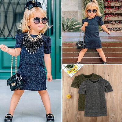 Toddler Kids Baby Girls Short Sleeve Fashion Bodyson Dress Casual Party Summer