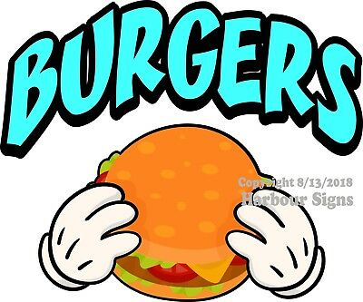 Choose Your Size Burgers DECAL Food Truck Concession Vinyl Sign Sticker