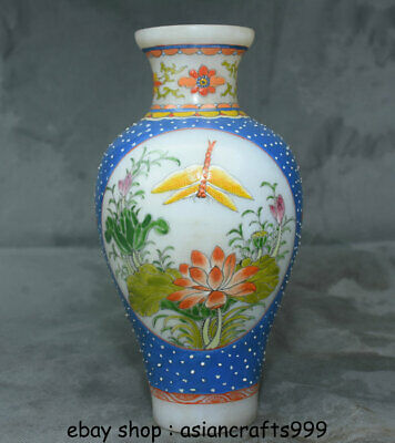 "8,2 ""alte China farbige Glasur Farbe Palace Lotus Blume Libelle Flasche Vase"