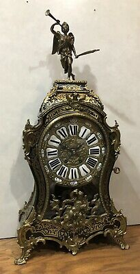 Large Early French Boulle Inlay Figural Bombay Mantel Shel Tabke Clock
