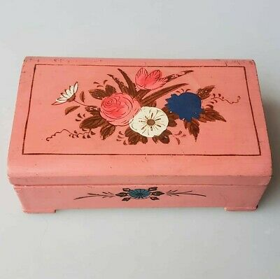 Vintage pink wooden bobbin Box sewing chest floral painted lid 1960s