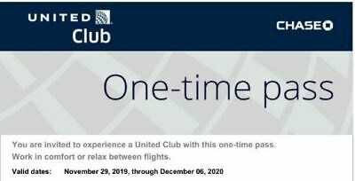 United Airlines Lounge Pass x 2 (Pair) -Valid through December 06 2020 (Full Yr)