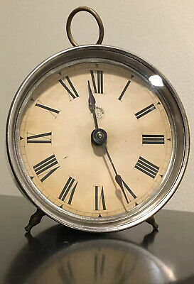 Antique New Haven Windup Round Metal/Nickel-plate Shelf Clock Time Only Runs
