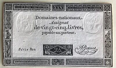 France 25 Livres 6/6/1793 Currency With Embossing & Watermark.