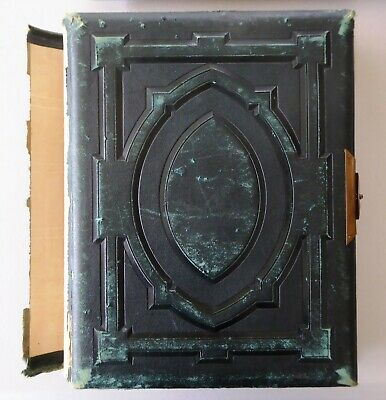 Large Antique 1880s Victorian Leather Photograph Album 30 Victorian Photos LAYBY