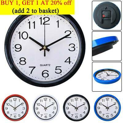 UK Modern Round Wall Clock Sweep Second Movement Quartz Bell Kitchen Home Decor