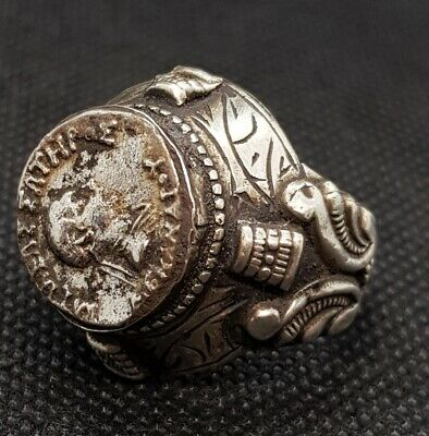 Antique Roman Soild Silver Old Ring With Ancient Greek Tetradrachm King Coin