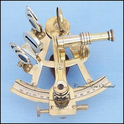 "Solid Brass 4"" Sextant Nautical Working Instrument Astrolabe Ships Maritime Gif"