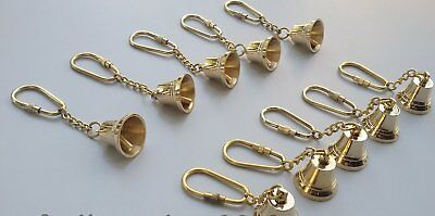 Antique Nautical Vintage Brass Bell KeyChain Keyring Lot of 10 pcs