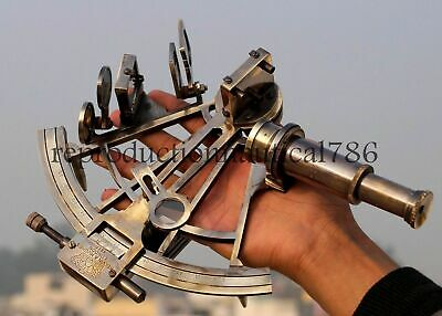 Antique Heavy Brass Sextant Collectible Marine Ship Instrument Gift Decorative
