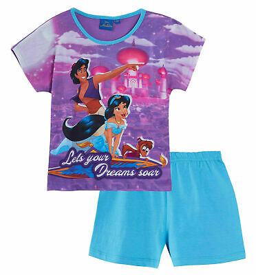 Disney Aladdin Jasmine Purple Pyjamas Childrens Kids Girls PJs Age 3-10 Years