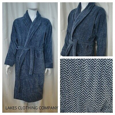M&S MENS Dressing Gown Collection Blue Luxury Supersoft Velour Perfect Gift £59