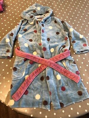 Girls Age 3-4 Years Blue Spotty Joules Dressing Gown